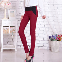Spring and autumn double colorant match ankle length legging skinny pants casual pants cotton trousers 100% female plus size