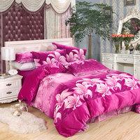 Winter thickening short plush thermal piece set plus velvet duvet cover bed sheets pillow case super soft bedding home textile