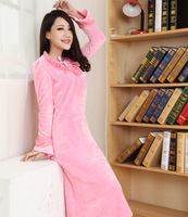 Autumn and winter plus size sleepwear princess ultra long nightgown female thickening coral fleece mink velvet robe female