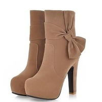 Free shipping / 2013 winter new Korean version of the elegant bow shoes high zipper boots thick with Martin
