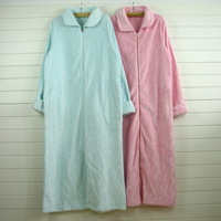 Coral fleece long sleeve length nightgown zipper robe female autumn and winter sleepwear lounge plus size available