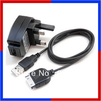 USB Cable Cord w/ UK Mains Charger Adapter For SanDisk Sansa C100 C200 C250 e200 e270 e200R e260R e280R / Fuze 8GB / View 32GB
