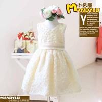 [Lucky Clover]Free Shipping,4pcs/lot,0026-35,Children dress wholesale,Children's wedding dress,Small chrysanthemum dress