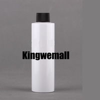 Wholesale 300pcs/lot  Capacity 200ml Empty PET  White  Bottle with Black  Ribbed Lids For Cosmetic Packaging FWJ06