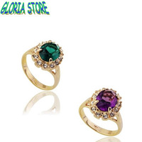 2013 HOT Sale korean fashion women Real 18K Gold Plated Emerald Ring Elegant Jewelry with Austrian Crystal rings,WholesaleJR1303