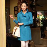 2013 Winter Plus Size Elegant Wool Coat Long Design Slim Woolen Outerwear Woollen Coat,Women's Overcoat,Free Shipping