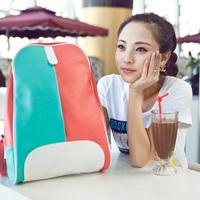 2013 women's handbag color block cartoon student backpack bag colorant match handbag school bag  leather