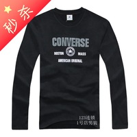 2013 spring and autumn clothing color block decoration o-neck men's clothing loose long-sleeve T-shirt british style 100% cotton