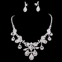 MIN.ORDER $15,shining rhinestone jewelry set for wedding 10258 luxurious leaves chain