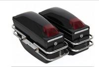 Black Motorcycle Cruiser Hard Trunk Saddle Bags Trunk Luggage w/ Lights Mounted