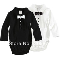 1pcs Baby Boys Rompers Size 70-100cm Child Bowtie Gentleman Clothing Cotton Infant Wear For 3-18Mths Kids Long Sleeve Jumpsuit