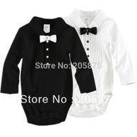1pcs Baby Boys Rompers Size 70-100cm Child Bowtie Gentleman Clothing Cotton Infant Wear For 3-18Mths Kids Long Sleeve Jumpsuit