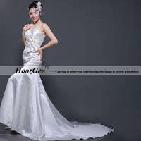 Free Shipping High-end Custom Mermaid Sweetheart Strapless Satin Bridal Gown With Rhinestone/Bow For Wedding HoozGee-23533