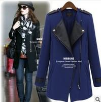 2013 new winter coat lapel stitching Slim zipper in Ms. Long coat female windbreaker jacket #8405