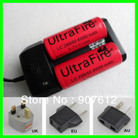 2X 26650 3.7V Li-ion 6000mAh flashlight Torch Rechargeable battery + 26650 18650 Battery Charger Free Shipping