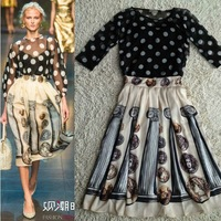 New 2014 Runway Sicily Fashion Women's Famous Italian Brands Polka Dot Chiffon Black Blouses + Retro Coins Print Mid Calf Skirt