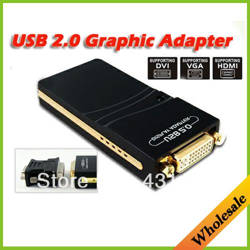 Wholesale Drop shipping 19D USB 2.0 UGA to DVI VGA HDMI Multi Display Dual Monitor Converter Graphic Adapter Video Card Adapter(China (Mainland))