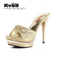 Kvoll diamond dimond plaid platform ultra high heels slippers shoes women's gold