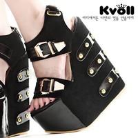 Kvoll ultra high heels sandals color block platform rivet decoration leather buckle on wristband japanned leather wedges black