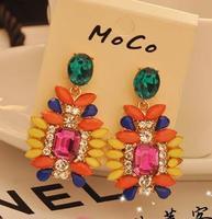 2014 New Korean Bohemian Colorful Gems Stud Earring.Statement earring