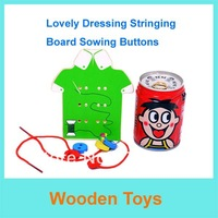 Free Shipping Newest Educational Wooden Toy Baby Early Learning Mini Dressing Stringing Bard Swing Bttons for Christmas Gift