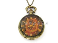 Vintage Large tawers glass pocket watch necklace camel table rahb186b