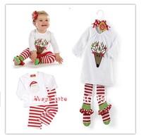 children's christmas clothing sets kids cotton white and cartoon top tops t-shirt + stripped pants xmas 2 pcs set XZQ