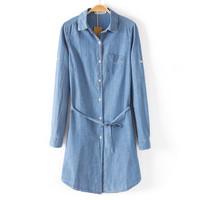 fashion Women's slim single pocket slim waist lacing long design denim shirt Blouses women's casual long design denim Ks898