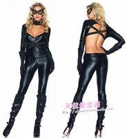 Black leather bodysuit cat women's ds female cosplay costume