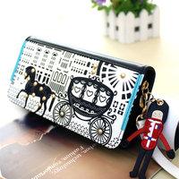 Vintage 2013 women's wallet women's cartoon long zipper design wallet day clutch