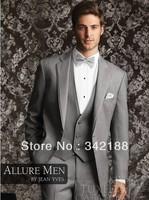 Two buttons Light gray Notch Lapel Groom Tuxedos Groomsmen Men Wedding Suits Prom Clothing (jacket+pants+waistcoat+tie) BM:385
