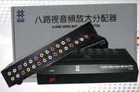 8 Way 1 In 8 Out 3 RCA Video Audio AV Amplifier Splitter HDTV DVD VCD 8 Ports Load AV Switch