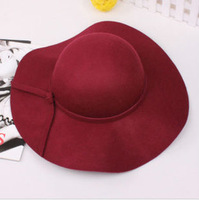 Wholesale 2013 women in the fall and winter of pure wool hat fashion edge bell big floppy hat bowler hats sun hat big fedoras