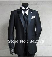 2014 FrEE SHIPPING Groom Tuxedos Black Best Man Peak Satin Lapel Groomsmen Men Wedding Suits Prom Formals Bridegroom Suit