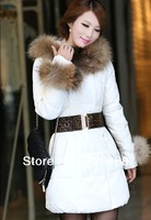 New Arrived Winter Thick Large Fur Collar Down Coat White Duck Feather Women's Medium-long Down Jacket Outerwear free shipping