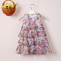 3PCS/LOT 2013 NEW Children's ball gown girl's lace flowers vest dress baby Sleeveless Evening dress Free shipping