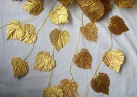 10pcs/lot 3m long Beautiful vine Ivy hanging bush plant Artificial gold leaf wedding party home garland decor wd004