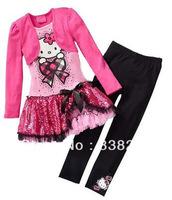 Wholesale Hot Sale 2013 New Arrival Child Girl Suit Long Sleeve False 2pcs Hello Kitty Dress+Black Pants Girl Set Free Shipping