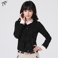 Autumn cardigan professional women's cotton peter pan collar basic shirt long-sleeve shirt chiffon top