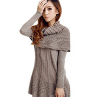 2013 autumn female slim medium-long pullover sweater outerwear muffler scarf