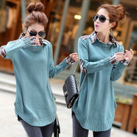 Autumn 13 plus size clothing loose sweater shirt collar faux two piece medium-long sweater outerwear