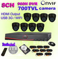 8ch CCTV System NVR 700TVL IR weatherproof Cameras 8ch 960H DVR Recorder,USB 3G WIFI,HDMI output DVR Kit with HDD+Free Shipping