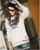 Free shipping letter printed leisure thick hoodies sweatshirts women fashion 2013 S M L