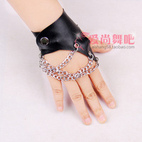 Ds gloves slip-resistant jazz dance faux leather personalized female singer gloves