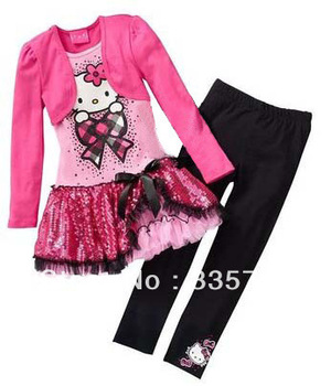 Wholesale Hot Sale 2013 New Arrival Child Girl Suit Long Sleeve False   Hello Kitty Dress+Black Pants Girl Set Free Shipping