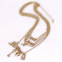 Fashion Accessories Retro Vintage Owl Key Angel Finishing Letter Four Layer Necklace Free Shipping