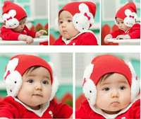 Children Baby  cartoon big Rabbit  ear protection cap baby bowknot children's hat headgear knit  free shipping