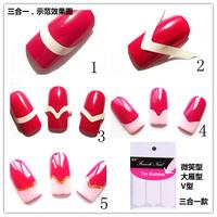 French Manicure Tip Guides Nail Art Sticker Nail Polish 48pcs/set Circle Wave V Shape Smile Line