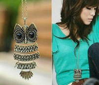 collar Xl007 fashion vintage owl long necklace female necklace colar