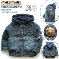 13 children's clothing male child baby casual outerwear cool denim coat top cardigan spring and autumn